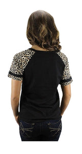 Sunshine&Rodeos Mama Bear Cheetah Leopard Key Hole Short Sleeve Shirt Top Black Brown