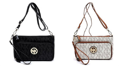 NX Noble Exchange Wristlet Clutch Messenger Bag Wristlet Purse Black Beige Ivory