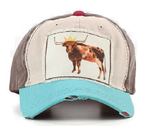 Steer Princess Crown Longhorn Cow Floral Flower Goat Farm Hat Cap Brown Turquoise Blue Pink
