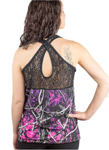Muddy Girl Camo Lace Crossed Back Womens Ladies Tank Top Shirt Purple Pink Black