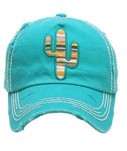KB Adjustable Aztec Serape Cross or Cactus Vintage Distressed Hat Cap Black Turquoise Blue