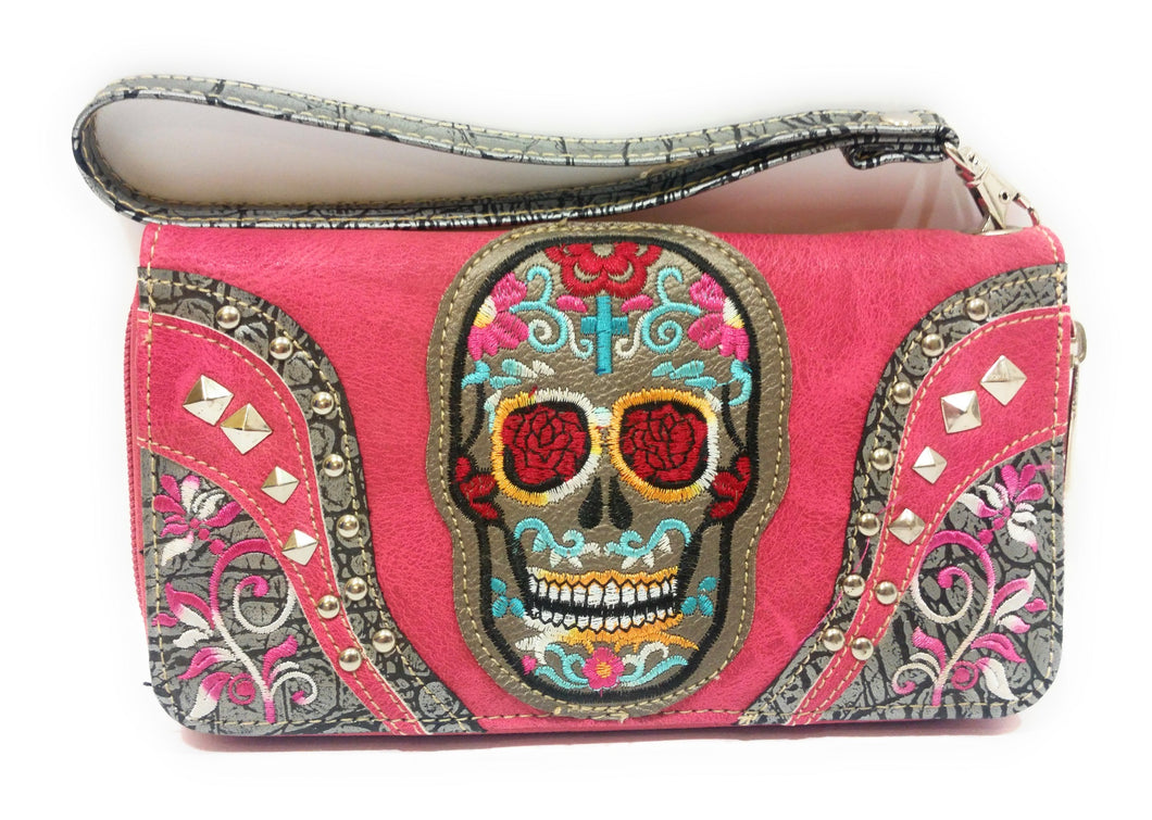 Sugar Skull Flower Floral Biker Gothic Womens Ladies Western Zipper Wallet Black Turquoise Pink