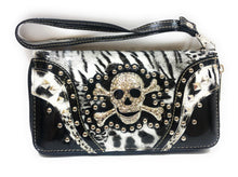 Bling Rhinestone Skull Cross Bones Pirate Biker Womens Ladies Western Wallet
