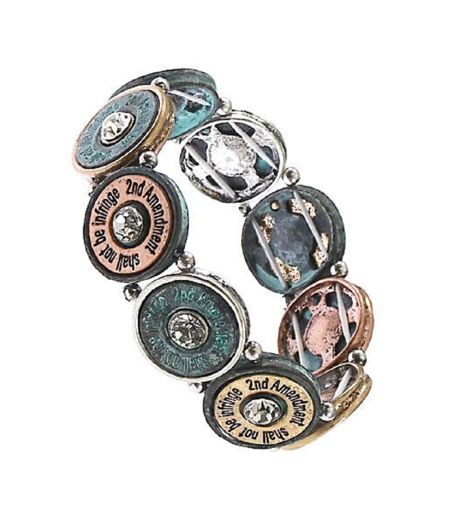 2nd Amendment Bullet Shell Stretch Bracelet Patina Turquoise Blue Silver Copper