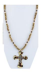 Rhinestone Beaded Metal Leatherette Cross Spiritual Necklace Pink Brown Cheetah Leopard 32""