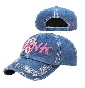 Pink Ribbon Breast Cancer Awareness Vintage Distressed Hat Cap Denim Blue Black Wings Filigree Swirl