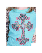 Southern Grace Cheetah Leopard Cross Burnout Girls Kids 3/4 Sleeve Shirt Top Blue