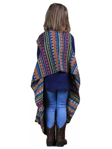 Grace & Emma Aztec Hippy Western Serape Girls Kids Sleeveless Cover Up Vest Top