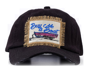 Southern Junkie Buy Me A Boat Play That Country Music Guitar Boots Distressed Hat Cap Black