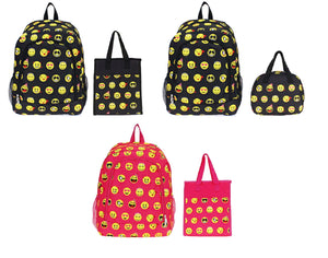 Girls Boys School Camp Book Bag Kids Backpack Emoji Smiley Face Lunch Box Case Set Black Pink