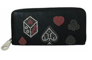 HX Vegas Casino Gamble Gaming Playing Cards Suits Dice Rhinestone Wallet Black