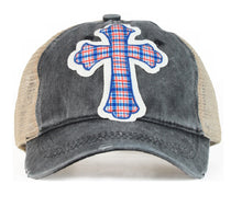 Southern Junkie High Ponytail Messy Bun Plaid Cross Vented Mesh Trucker Hat Cap Black Tan