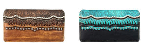 Montana West Tooled Braided Trifold Zipper Wallet Turquoise Blue Black Brown Tan