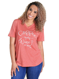 Daisy Rae Coffee By Day Wine By Night Short Sleeve Ladies Womens Shirt Top Red