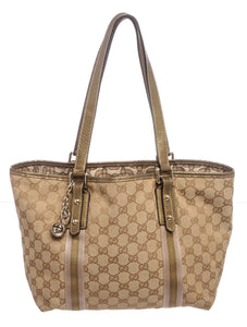 Authentic Gucci GG Brown Beige Monogram Jolicoeur Shoulder Handbag Purse Tote