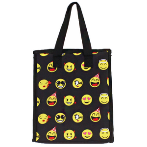 Girls Boys School Camp Travel Kids Emoji Smiley Insulated Lunch Box Bag Case Black Pink