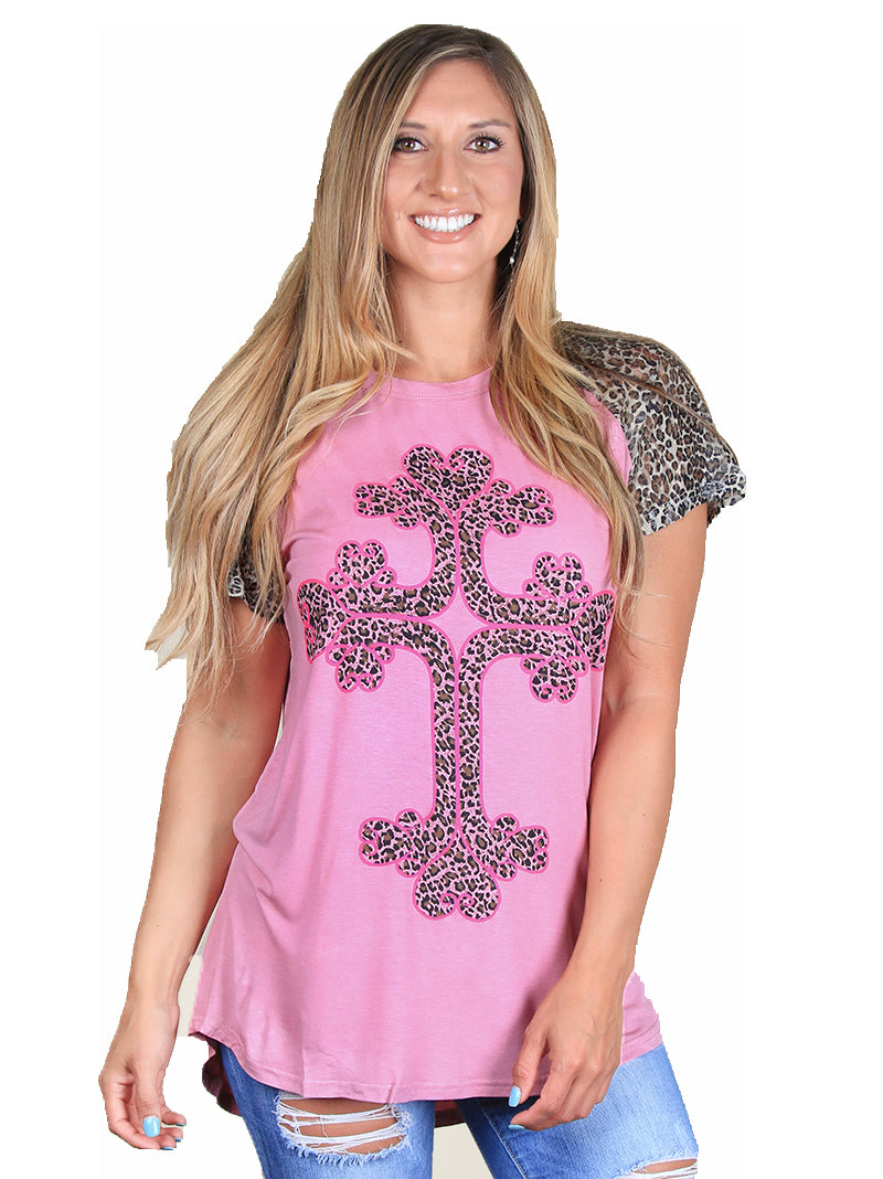 Southern Grace Cheetah Leopard Cross Hi Low Short Sleeve Womens Shirt Top Pink