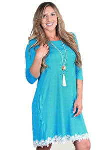 Grace & Emma Pockets Lace Flower 3/4 Sleeve Ladies Womens Dress Top Turquoise Blue