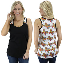 Sunshine & Rodeos Texas State Flower Floral Tank Top Sleeveless Shirt Black White