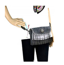 Montana West Concho Fringe Waist Fanny Pack Messenger Bag Crossbody Purse Black Brown