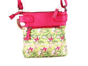 Army Camo Butterfly Western Messenger Bag Cross Body Shoulder Purse Pink Green