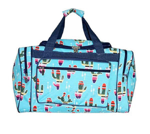 NGil Serape Aztec Cactus Arrow Western Luggage Tote Duffel Carry On Bag Aqua Blue 17""