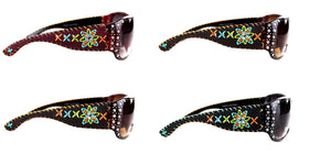 Montana West Embroidery Flower Floral Sunglasses Black Brown Cheetah Leopard Red