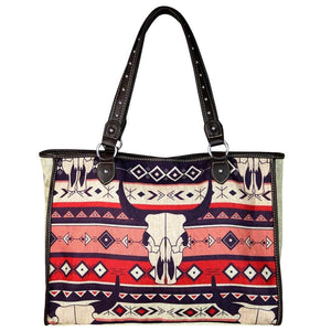 Montana West Steer Longhorn Aztec Craft Diaper Travel Shopping Purse Bag Tote Tan …
