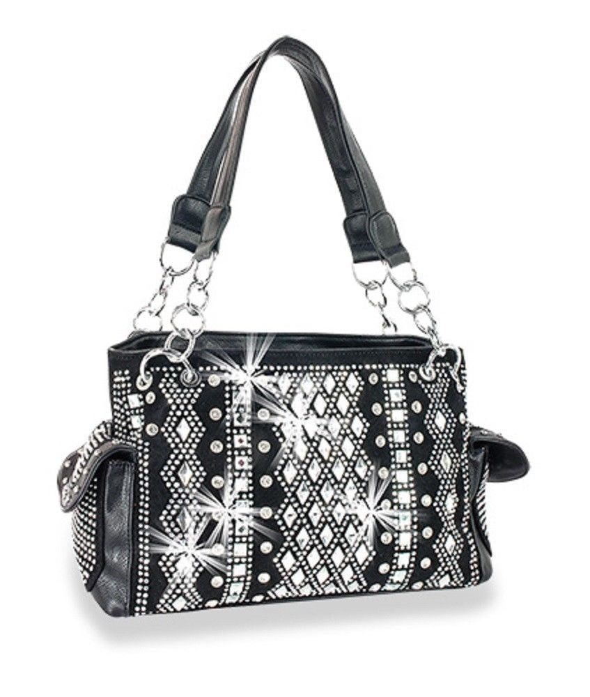 HX Extra Bling Rhinestone Concealed Carry Gun Weapon CCW Shoulder Bag Purse Black