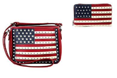 Montana West Concealed Carry Texas USA Star Flag Messenger Bag Purse Wallet Red Blue
