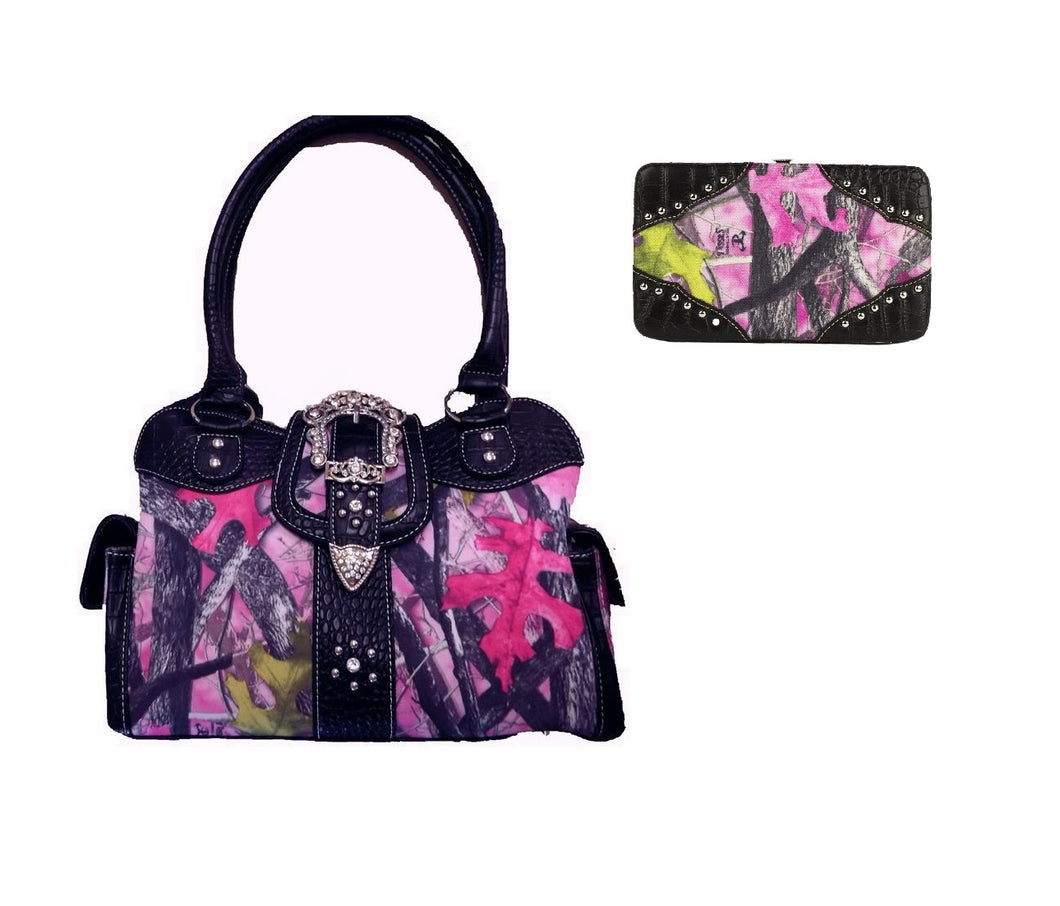 Sassy B Pink Camo Concealed Carry Gun CCW Buckle Satchel Purse Wallet Set Black