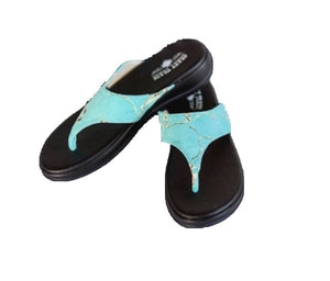 Crazy Train Flip Flops Turquoise Blue Stone Marble Taos Sandals Slip On Shoes