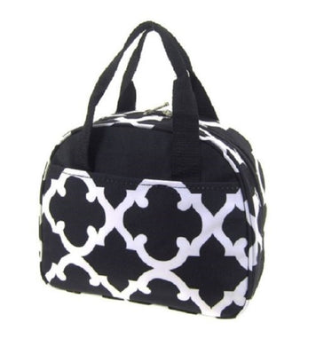 NGil Quatrefoil Clover Insulated School Work Camp Lunchbox Bag Case Black White