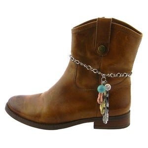 Aztec Feather Turquoise Charm Western Cowgirl Boot Strap Anklet Silver Copper Gold