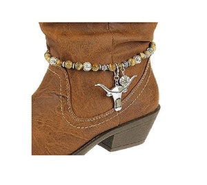 Longhorn Steer Cow Skull Bead Rhinestone Western Boot Strap Anklet Jewelry Brown
