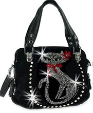 HX Bling Cat Purse Rhinestone Kitty Bow Flower Messenger Bag Zipper Wallet Set Black