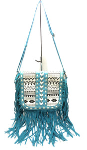 Blue Heaven Aztec Chevron Fringe Tassel Messenger Bag Crossbody Purse Blue White