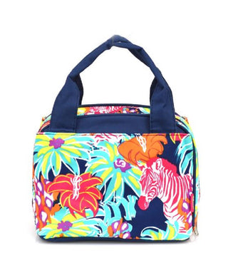 NGil Zebra Flower Floral School Camp Travel Insulated Lunch Box Bag Case Navy Blue
