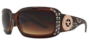 Western Cowgirl Rhinestone Ladies Womens Sunglasses Concho Star Gun Black Brown