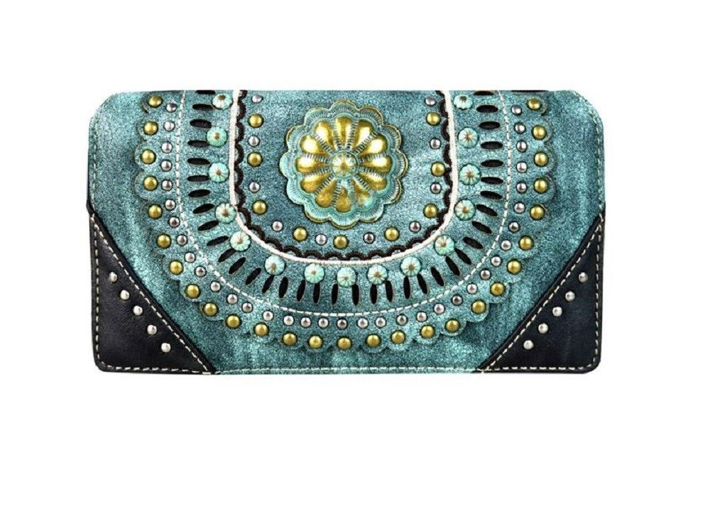 Montana West Floral Concho Zipper Trifold Wallet Turquoise Blue Black or Coffee Brown