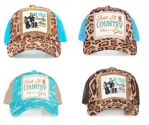 Play That Music Guitar Boots Just A Country Girl Cheetah Leopard Vented Mesh Hat Cap Blue Brown
