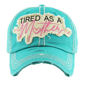 Adjustable Tired As A Mother Heart Patch Vintage Distressed Mom Hat Cap Turquoise Blue