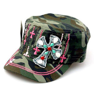 Adjustable Black Pink or Green Army Camo Beaded Stones Multi Color Cross Cap Hat