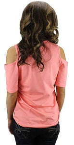 Sunshine & Rodeos Cheetah Leopard Lace Up Top Open Shoulder Short Sleeve Shirt Pink