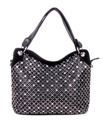 Extra Bling Rhinestone Western Messenger Bag Crossbody Shoulder Purse Pocketbook Black