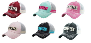 KB Hey Yall Vented Mesh Trucker Vintage Distressed Cap Hat Mint Blue Pink  Turquoise Black Maroon 2a6e781e8aa1