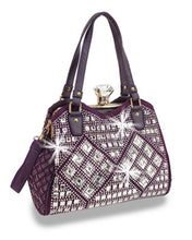 HX Bling Gem Clasp Purse Rhinestone Basketweave Messenger Crossbody Shoulder Bag