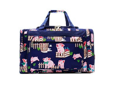 Pig Ag Farm Navy Blue Pink Dance Cheer Sports Gym Camp Beach Luggage Bag Tote Duffel 20