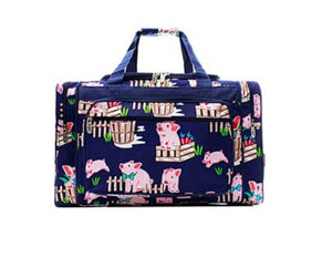 Pig Ag Farm Navy Blue Pink Dance Cheer Sports Gym Camp Beach Luggage Bag Tote Duffel 20""