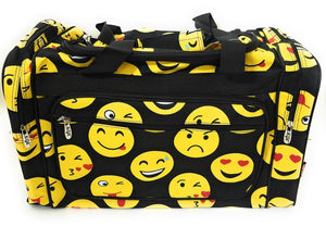 Emoji Smiley Face Black Yellow Dance Cheer Sports Camp Beach Luggage Bag Tote Duffel 20""
